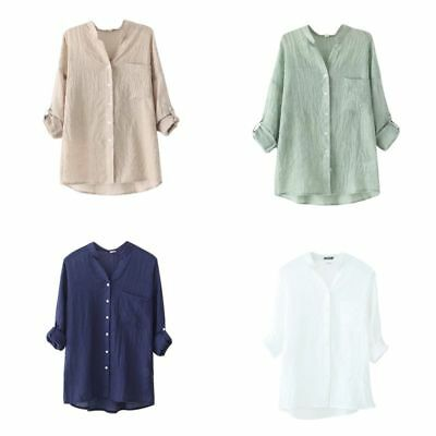 Women Oversized Loose Casual Long Sleeve Tops Linen Shirt Ladies Blouse T-Shirt