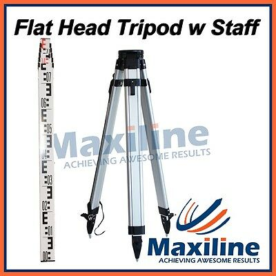 Flat Aluminum Tripod and 4 Meters Staff for Rotary Laser level Dumpy Level