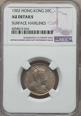 1902 Hong Kong 20 Cents, NGC AU Details, Cleaned, Scarce