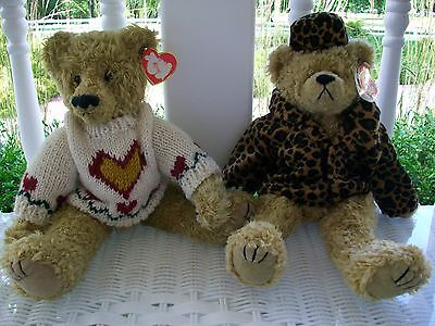 "TY Attic Treasures Collection . 2 Ty Bears. Isabella and Heartley. 14"" Bears."