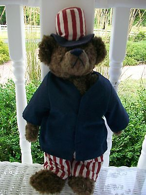 "TY Attic Treasures Collection Samuel the Bear 1993. 14"" Red/ White/ Blue.Patriot"