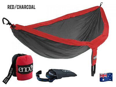 ENO Double Nest Hammock + Atlas Strap Pack Red/Charcoal Travel Outdoor Portable