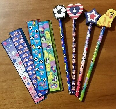 Lisa Frank Pencils with Eraser Toppers and Rulers Soccer, Patriotic, Puppies