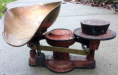 1800s Antique Cast Iron & Brass Howe 2lbs General Store Candy Scales w/ Weight