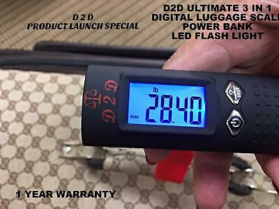 Ultimate 3 in 1 Digital Luggage Scale+Power Bank to Charge Phone & Flash Light