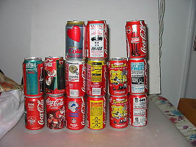 Lot of 15 Coca Cola Collectible Cans