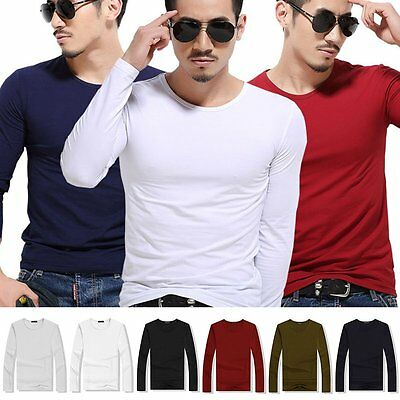 Men's Long Sleeve T-Shirt Slim Casual Solid Color Basic Elastic Tee Shirts Tops