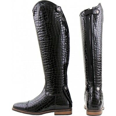 Horka Tiffany Riding Long Riding Boot Croco Patent Leather Black