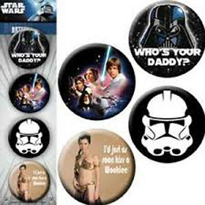 STAR WARS  4 x 1.5 inch Badge Button Pin Collectors Set NEW MERCHANDISE RARE