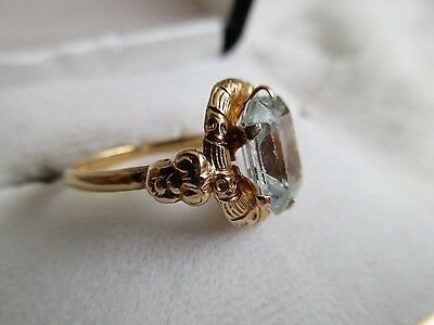 18K  Y/gold Ring With Aquamarine Stone