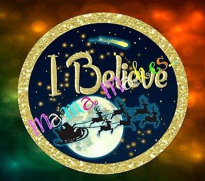"OFFER!! 1 ""I believe"" Christmas Pin Badge (50mm)"