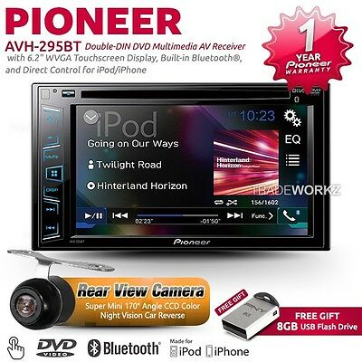 "PIONEER AVH-295BT 6.2"" Double DIN Reverse Camera Car DVD Player Stereo Headunit"