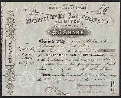 Montgomery Gas Co. Ltd., £5 share, 1857, in name of Earl of Powis