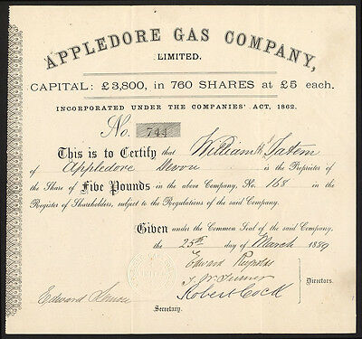 Appledore Gas Company Ltd., £5 share, 1889