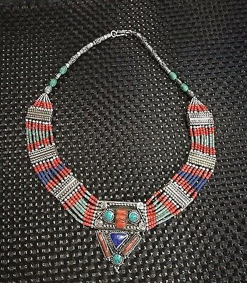 Beautiful MIAO SILVER OLD INLAY turquoise coral CLOISONNE FLOWER HAND necklace