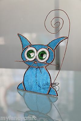 Handmade Stained Glass American Cat Tifanny Technique Home Decor Gift Souvenir