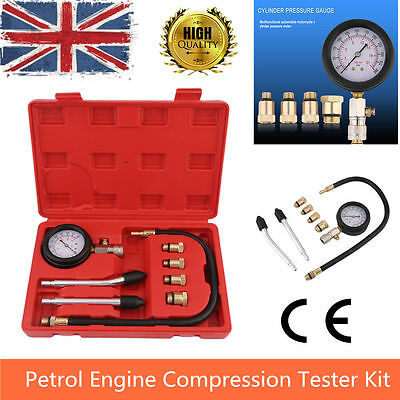 New Petrol Engine Compression Tester Kit 4 x Threaded Connetors Dual scale gauge