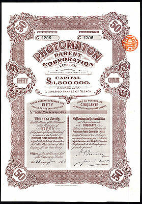 Photomaton Parent Corporation Ltd, 50 5/- shares, 1928, Clarence Hatry fraudster