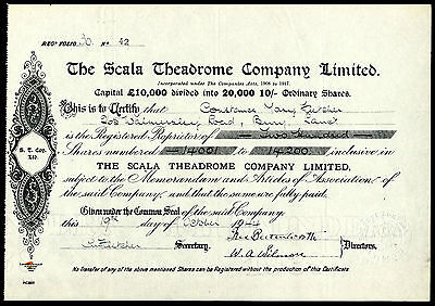 Scala Theadrome Co. Ltd., 10/- shares, 1944, a cinema in Oldham, Manchester