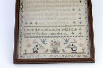 Charming small antique Folk Art sampler Elisabeth Pearson Aged 9 years c1820