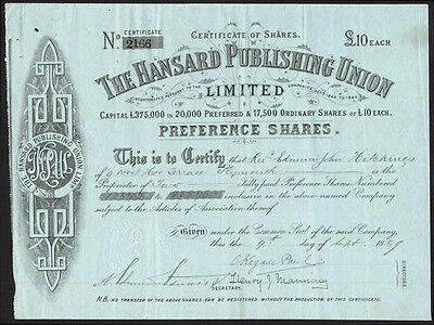 Hansard Publishing Union, Ltd., £10 Pref. shares, 1859, Bottomley connection