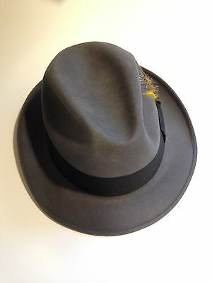 "Gray Barlesoni Fedora Men's Hat With Black Band Vintage Size 7"" 1/4"""