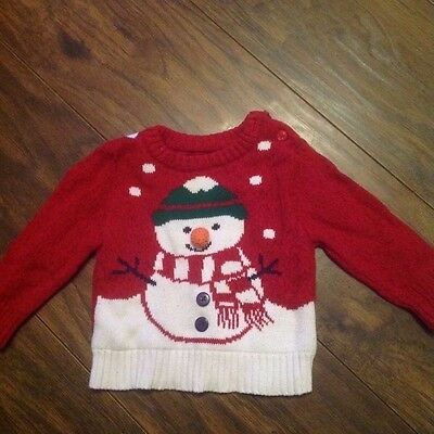 Boys red mothercare christmas jumper age 6-9 months