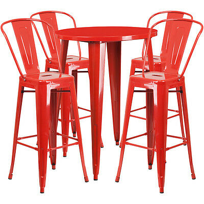 Flash Furniture 30'' Round Red Metal Indoor-Outdoor Bar Table Set with 4...