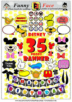 35 Pieces Disney miskey mouse Inspired Photo Booth Props party