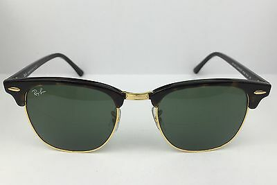 Ray Ban RB3016 W0366 Clubmaster Black Havana Green G15 Lens Sunglasses 51mm NEW