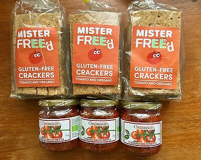 3 Packs Mr Freed Gluten Free Crackers + 3 Jars Organic Tomato Bruschetta