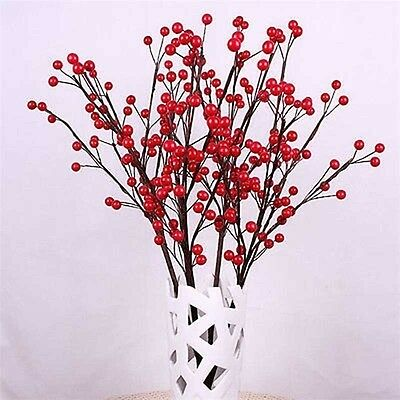 100Pcs Mini Berry Manmade Red Holly Berries 10mm Home Bouquet Christmas Decor