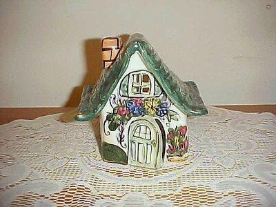 Heather Goldminc Blue Sky Claywork Tea Lite Cottage House Year 2001