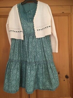 Girls Teal Needle Cord Dress & Matching Cream Cardigan Age 4-5 From M & S
