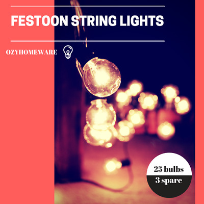 25 Piece String Lights Festoon Wedding Patio Party Fairy Outdoor Marquee Retro