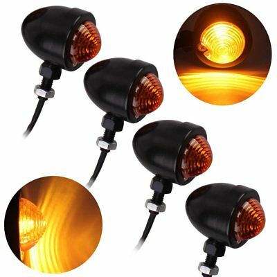 4x Black Mini Bullet Front Rear Turn Signal Brake Indicator Light Motorcycle UK
