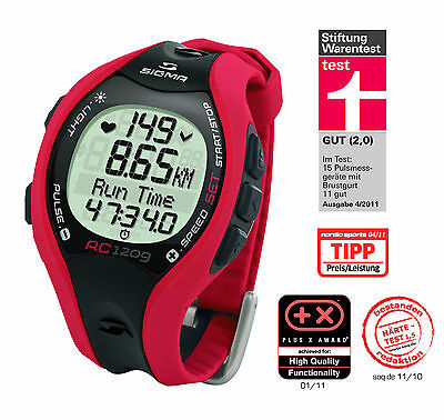 SIGMA RC 1209 RED RUNNING COMPUTER Heart Rate Monitor Watch Training  Fitness