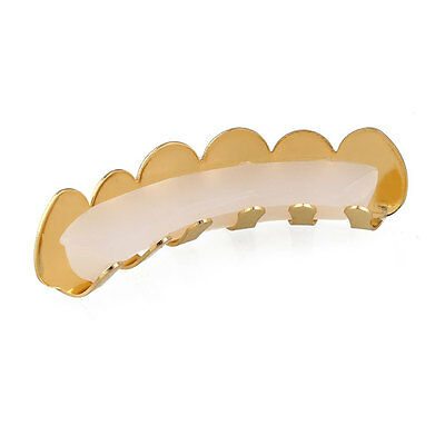 Gold/Silver Plated Hip Hop Mouth Teeth Grillz Caps Top & Bottom Grill Set