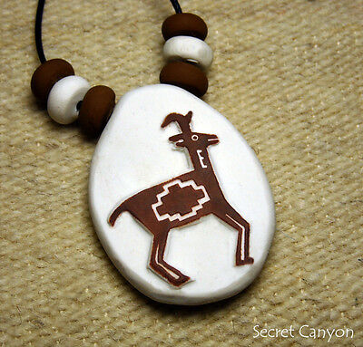 Sacred White Antelope Motif Handmade Clay Mimbres Pottery Style Pendant Necklace