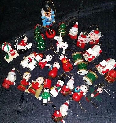 30 Christmas Wooden Hand Painted Ornaments