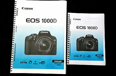 ~PRINTED~ Canon EOS 1000D  User guide Instruction manual A4 or handy A5