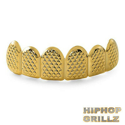 Gold Grillz 24k Plated Teeth Mouth Pyramid Grills Top Bling Hip Hop Rap