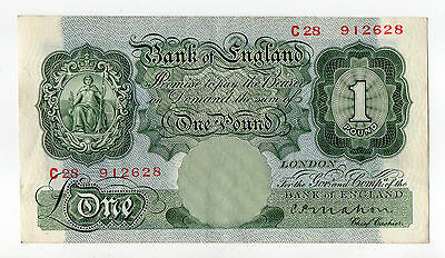 B212 Bank Of England £1 One Pound note MAHON C28  ERROR ? - NOVEMBER 1928