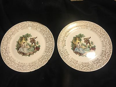 "2 Limoges American Triumph China D'OR 10"" Dinner Plate  1T S284  W/ 22K Gold"