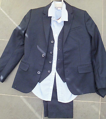 Boys Lovely Navy Three Pce Suit And Shirt Age 7-8 Years
