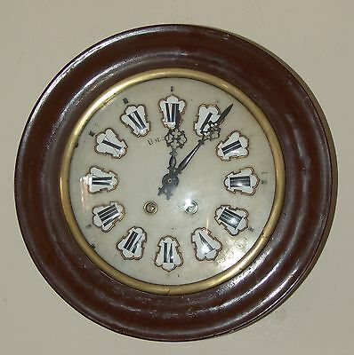 Nice antique striking French provincial dial wall clock ceramic dial - working