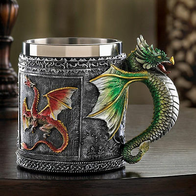 Medieval Royal Stainless Stee Dragon Coffee Mug Spine Tankard Serpent Handle Cup