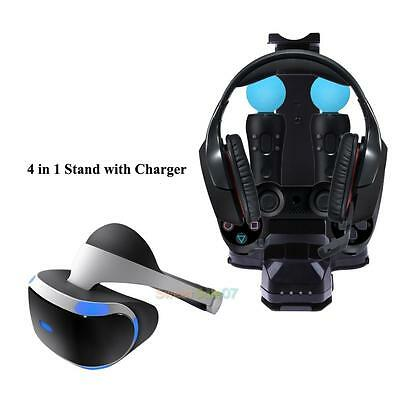 4 in1 Stand with Charger Dual Charging Station for PS4 PlayStation PS VR Headset