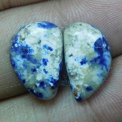 10.2Cts 100% NATURAL CHARMING SODALITE PAIR FANCY 16X10 LOOSE CAB GEMS UK138