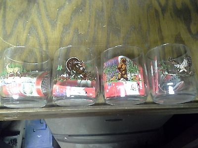 Sunoco Collectable Vintage Rare OOP Set of 4 Animal Drinking Glass Sun Oil Promo